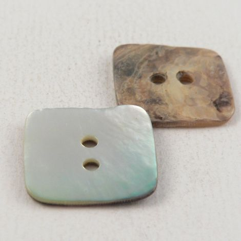 18mm Natural Agoya Square Shell 2 Hole Button