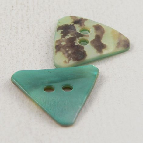 18mm Turquoise Triangle Agoya Shell 2 Hole Button