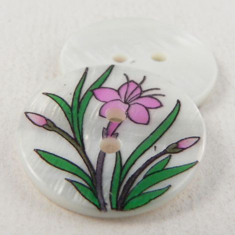 23mm Pink Lillies Round River Shell 2 Hole Button