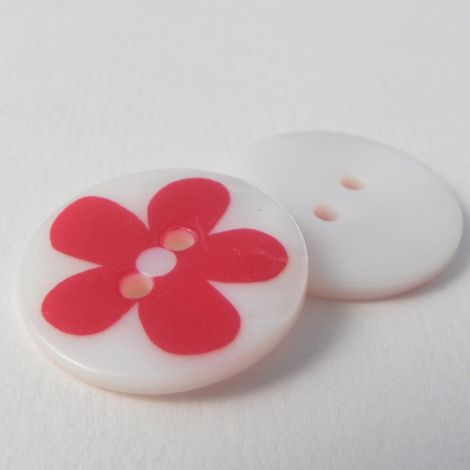 23mm Red Flower Round River Shell 2 Hole Button