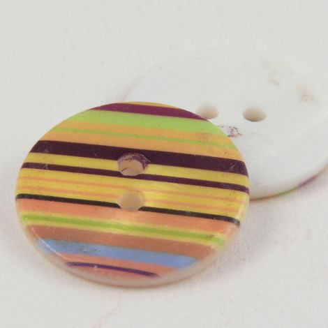 23mm Multicoloured Striped Round River Shell 2 Hole Button