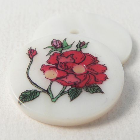 23mm Cerise Rose Round River Shell 2 Hole Button