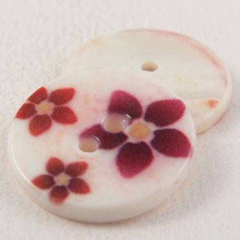 18mm Round Multicoloured Floral River Shell 2 Hole Button