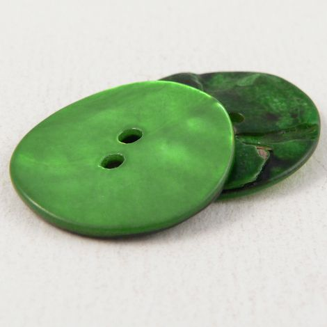 15mm Pea Green Agoya Shell 2 Hole Button