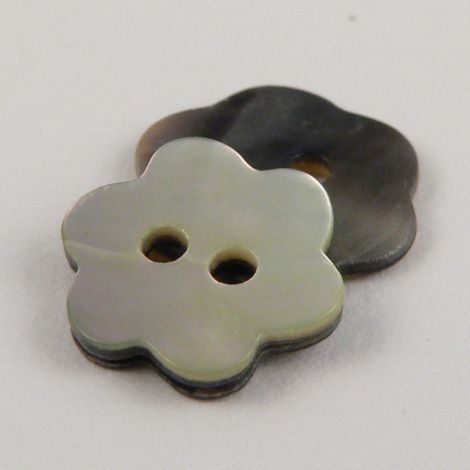 12mm Natural Flower Agoya Shell 2 Hole Button