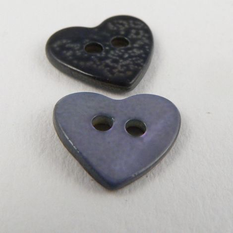 15mm Bluey-Lilac Heart Shell 2 Hole Button