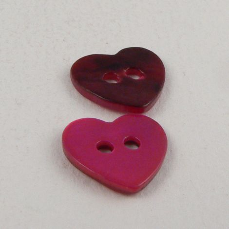 15mm Pink Heart Shell 2 Hole Button