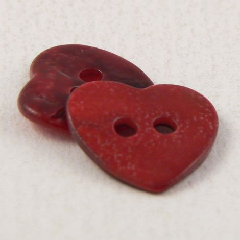 12mm Red Heart Shell 2 Hole  Button