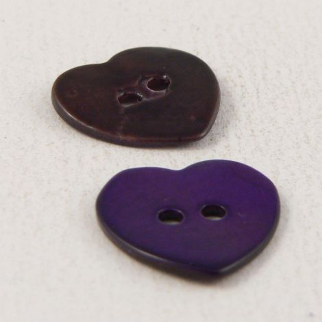15mm Purple Heart Shell 2 Hole Button