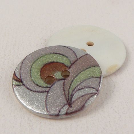 18mm Art Deco River Shell 2 Hole Button