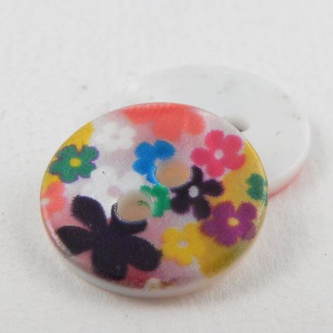 15mm Abstract Flower River Shell 2 Hole Button
