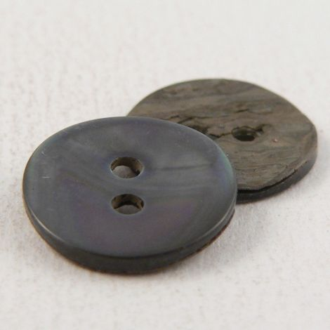 14mm Round Smoke River Shell 2 Hole Button