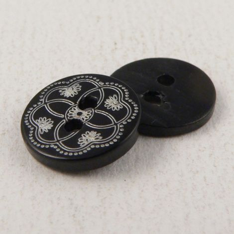 11mm Ornate River Shell 2 Hole Button
