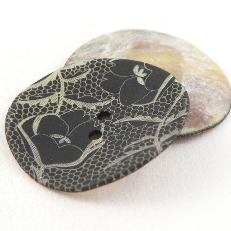 15mm Italian Black/Natural Floral Lace Shell 2 Hole Button