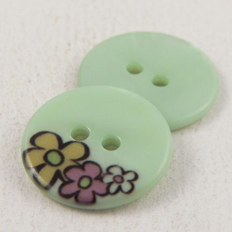 17mm Pale Green Floral River Shell 2 Shell Button