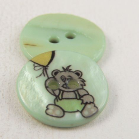 17mm Pale Green Teddy River Shell 2 Hole Button