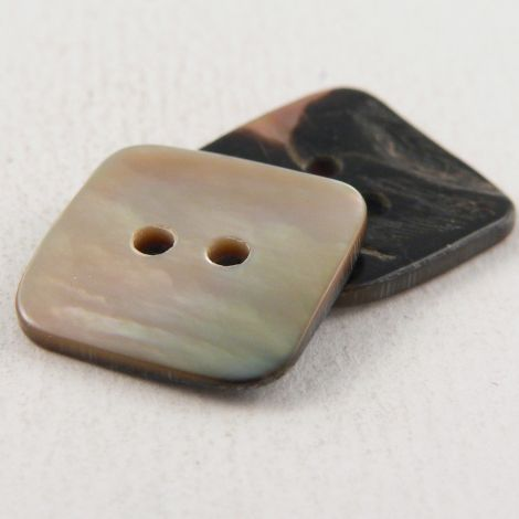 14mm Square Brown MOP Shell 2 Hole Button