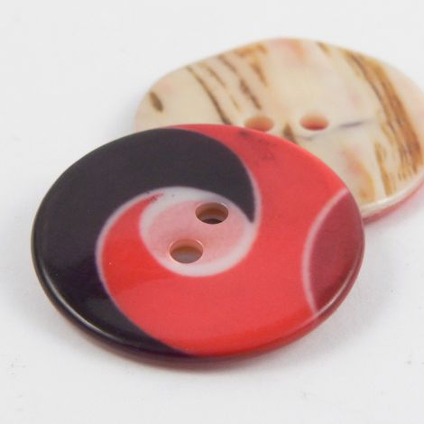 25mm Red Swirl 2 Hole River Shell Coat Button