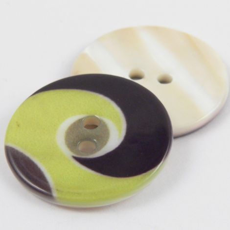 25mm Lime Green Swirl 2 Hole River Shell Coat Button