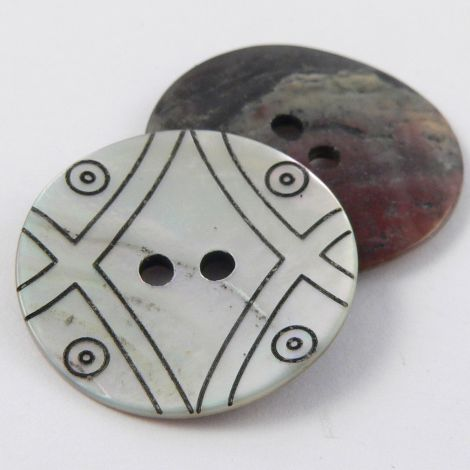 15mm Natural Agoya Shell Patterned 2 Hole Button