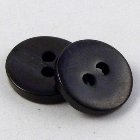 10mm Black Round River Shell 2 Hole Button