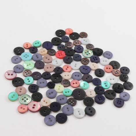 10mm Mixed Coloured Shell 30g Button Packs