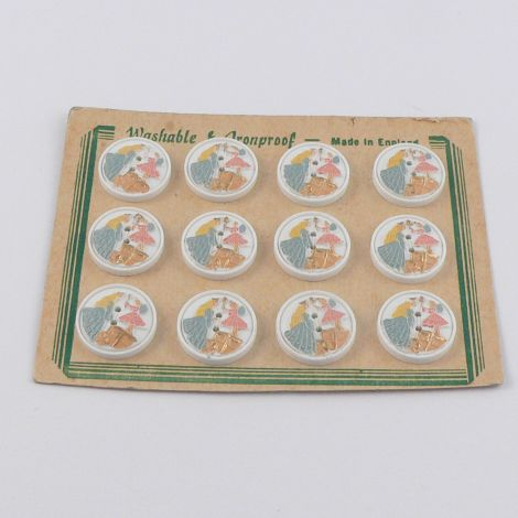16mm  Princess and Fairy Vintage Novelty Button