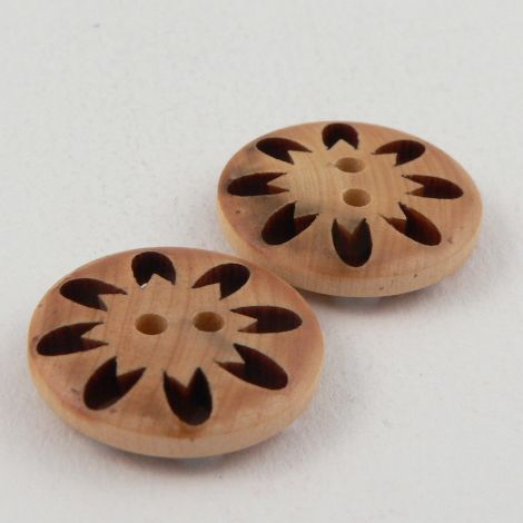 17mm  Flower Cut-Out Wood 2 Hole Button