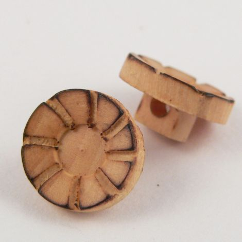 11mm Round Embossed Wood Shank Button