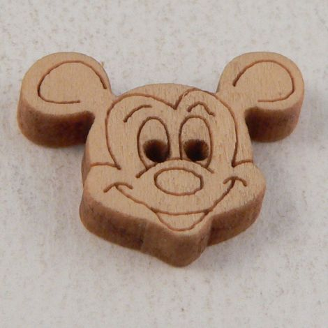 18mm Mickey Mouse Face 2 Hole Wood Button