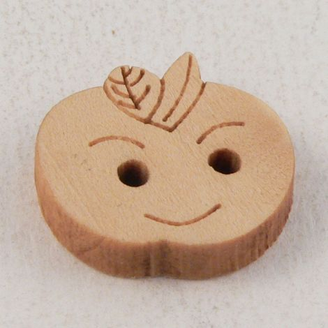 17mm Apple Face 2 Hole Wood Button