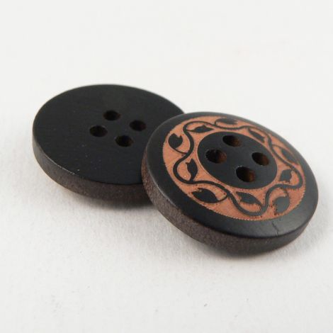 20mm Black 4 Hole Wood  Button With  Leaves