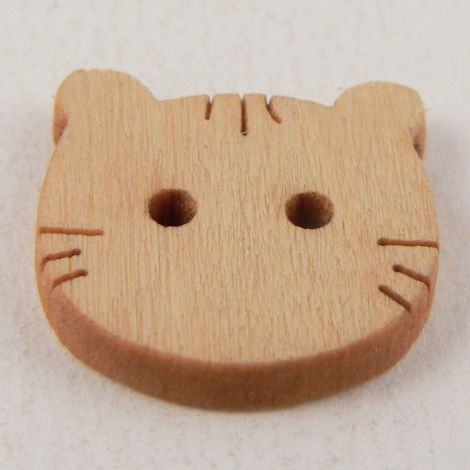 20mm Wooden Cat Face Animal 2 Hole Button