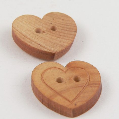 13mm Wooden Heart  2 Hole Button With Engraved Heart