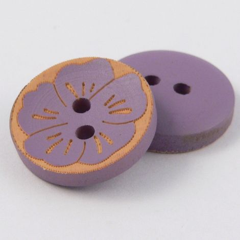 17mm Round Lilac Wood Flower 2 Hole Button