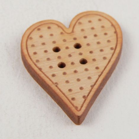 23mm Heart With Dots Wood 2 Hole Button