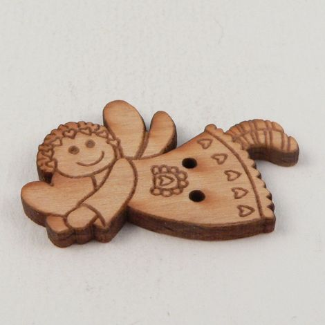22mm Angel With Heart Wood 2 Hole Button