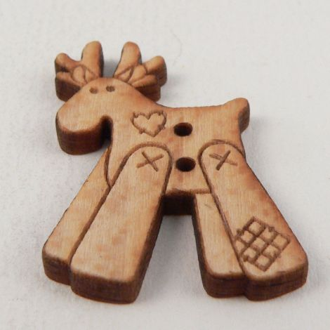 21mm Patchwork Reindeer Wood 2 Hole Button