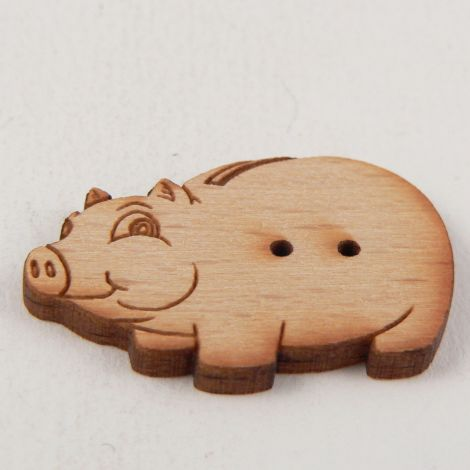21mm Cheeky Pig Wood 2 Hole Button