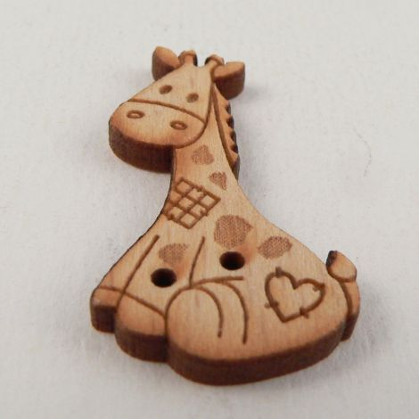19mm Patchwork Giraffe Wood 2 Hole Button