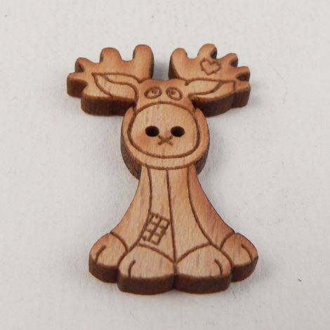 19mm Patchwork Reindeer Wood 2 Hole Button