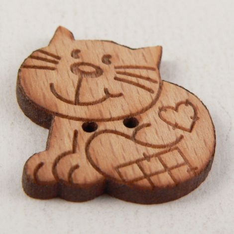 23mm Patchwork  Cheeky Cat Wood 2 Hole Button