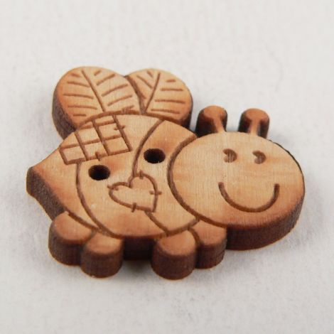 23mm Patchwork Bumble Bee Wood 2 Hole Button