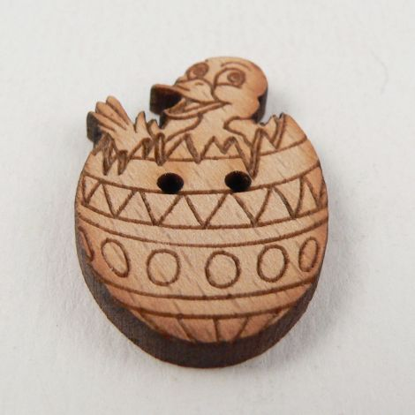 19mm Chick In Easter Egg Wood 2 Hole Button
