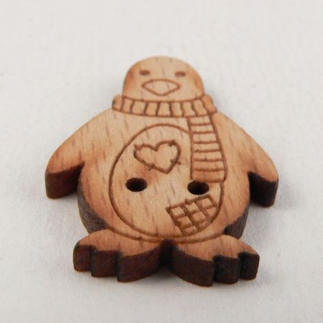 19mm Patchwork Penguin Wood 2 Hole Button