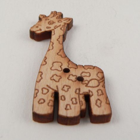 18mm Tall Giraffe Wood 2 Hole Button