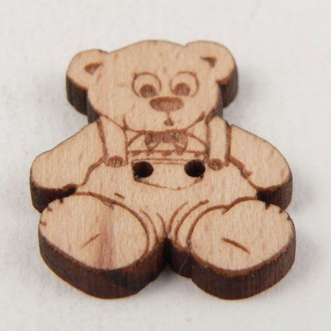 20mm Teddybear Wearing Dungarees Wood 2 Hole Button