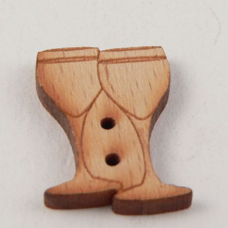16mm Wooden Wine Glasses 2 Hole Button