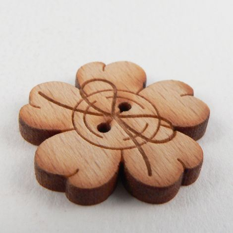 23mm Wooden Flower And Ribbon 2 Hole Button