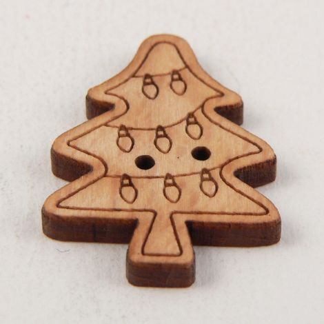 20mm Wooden Christmas Tree 2 Hole Button